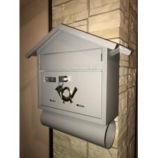 Почтовый ящик *Домик* металл сталь , цвет серый жемчуг , 400 / 320 / 110 мм ,вес 1.8 кг.. подарочная упаковка