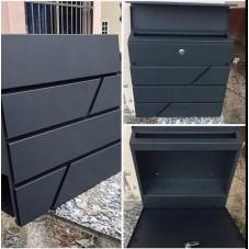 Почтовый ящик СТИЛЬ, цвет черно-серый матовый , высота 400мм, ширина 370 мм, глубина 100 мм.