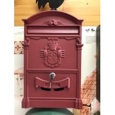 Пя-141.  Почтовый ящик  алюминий - сталь , цвет красное вино . 410 / 250.5 / 90 мм.. вес 2 кг.. подарочная упаковка