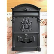 Пя-16.   Почтовый ящик , алюминий - сталь , цвет черный  , 410 / 255.5 / 90 мм., вес 2 кг., подарочная упаковка