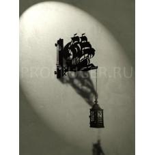 """Кронштейн для цветов с градусником  """"КАРАВЕЛЛА"""" , высота 350 - 400 мм.,  сталь 1.5 мм., цвет черный"""