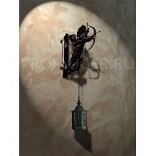 """Кронштейн для цветов с градусником """"КУПИДОН"""" , высота 350 - 400  мм.,  сталь 1.5 мм., цвет черный"""