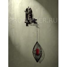 """Кронштейн для цветов с градусником   """"МЕДВЕДЬ"""" , высота 350 - 400 мм.,  сталь 1.5 мм.. цвет черный"""