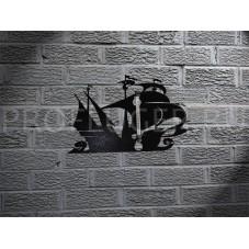 """Градусник """"КОРАБЛЬ"""" декоративный     , высота 350 - 400  мм., сталь 1.5 мм., цвет черный"""