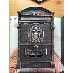 Пя-100.   Почтовый ящик , алюминий - сталь , цвет темное золото  , 410 / 255.5 / 90 мм., вес 2 кг., подарочная упаковка