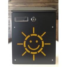 Пям-999.  Почтовый ящик для писем металл  сталь мини черный Солнце ,  300 / 210 / 65 мм., подарочная упаковка