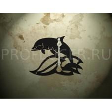 """Градусник  """"ДЕЛЬФИН"""" декоративный  , высота 350 - 400  мм., сталь 1.5 мм., цвет черный"""