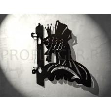 """Кронштейн для цветов с градусником """"РЫБКА"""" , высота 350 - 400  мм.,  сталь 1.5 мм., цвет черный"""